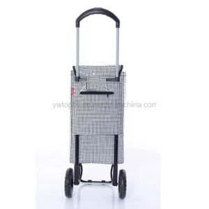 Large Folding Wheeled Lightweight Multifunctional Grocery Luggage PVC Shopping Trolley pictures & photos