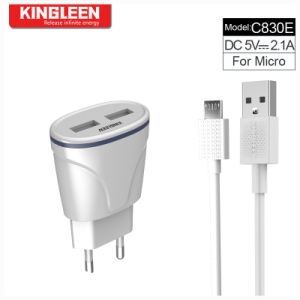 Kingleen C830e Dual USB Intelligent Charger Combo for iPhone/Micro/Type-C 5V-2.1A High Quality Charge Export to Europe pictures & photos
