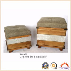 Antique Furniture Wooden Stool Storage Ottoman Chest Trunk Gift Box pictures & photos