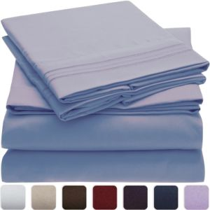 Hypoallergenic 100GSM Bushed Queen Microfiber Bed Sheet Set pictures & photos