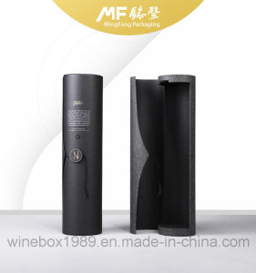 Simple Black Paper Cardboard Cylindrical Wine Packaging Box pictures & photos