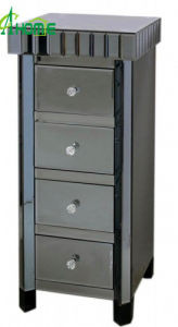 Four Drawers Modern Glass Table Black Mirror Table pictures & photos