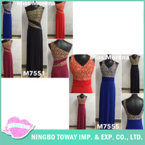 Ladies Beaded Embroidery Elegant Decorated Halter Neckline Long Formal Evening Gown pictures & photos