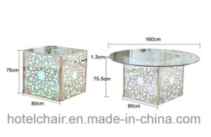 Most Popular Wedding Banquet Stainless Steel Glass Dining Table pictures & photos