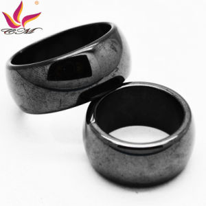 Htr-010A Fashion Glaze 10mm Width with Magnetic Black Mens Hematite Ring pictures & photos