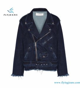Fashionable Women Denim Jackets with Zipped Cuffs and Pockets Belt Loops pictures & photos
