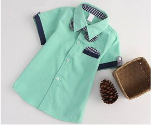 Kids Short Sleeve Contrast Shirt for School Uniform High Quality pictures & photos