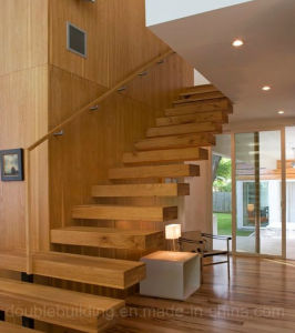 America Wood Staircase Floating Staircase with Wood Box Tread pictures & photos