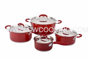 8PCS Stainless Steel Cookware Set with Red Painting pictures & photos