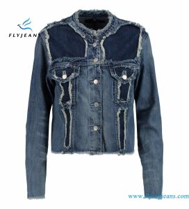 MID-Weight Denim Ladies Frayed Jackets Made by Cotton and Lyocell Denim pictures & photos