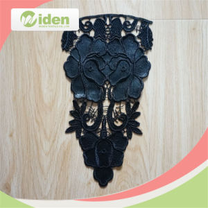 Polyester and PU Black Color Fancy Embroidery Collar Lace pictures & photos