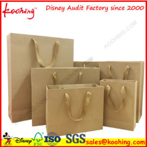 Brown Kraft Paper Bag with Handle for Cloth Wholesale Packing pictures & photos