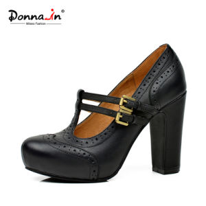 Lady Brogue T-Strap High Heels Pumps Leather Platform Women Shoes pictures & photos