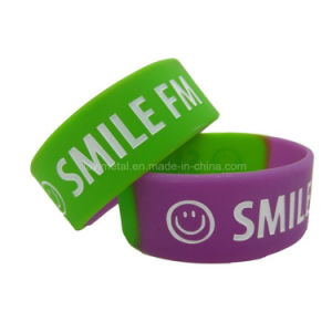 Custom Printing Smile Face Silicone Bracelet Wristband pictures & photos