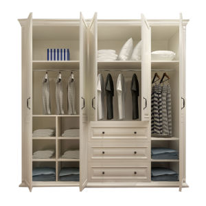 European Style White Paint Wooden Bedroom Wardrobe (GSP9-023) pictures & photos