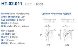 Cabinet Angel Hinges with 165 Degree, Optional Cups pictures & photos