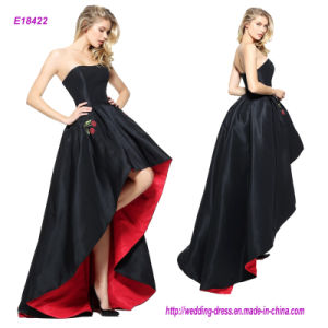 Noble Strapless Black High Low Prom Dress with a Red Lining and Embroidered Cherry Pockets pictures & photos