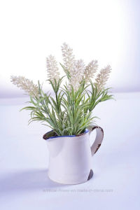 Artificial Charming Lavender Flower in Ceramic Pot for Home Office Decoration pictures & photos