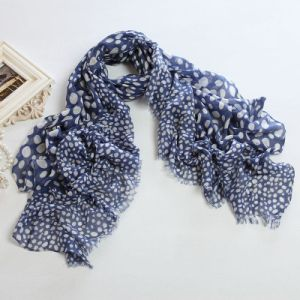 Blue Ground White DOT Big Size Polyester Voile Long Scarf PP058cl