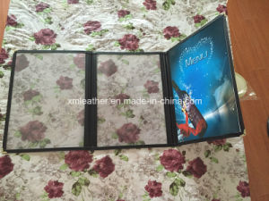 2 Fold Hotel Transparent Menu Holder Covers with Leather Coated pictures & photos