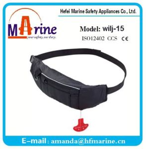 Hot Sale 110n Black Color Inflatable Life Jacket Belt pictures & photos