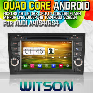 Witson S160 Car DVD GPS Player for Audi A4/S4/RS4 (2002-2008) with Rk3188 Quad Core HD 1024X600 Screen 16GB Flash 1080P WiFi 3G Front DVR DVB-T Mirror (W2-M050) pictures & photos