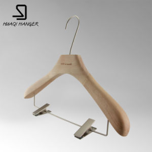 Beech Wooden Clothes Hanger with Two Clips for Men and Women pictures & photos