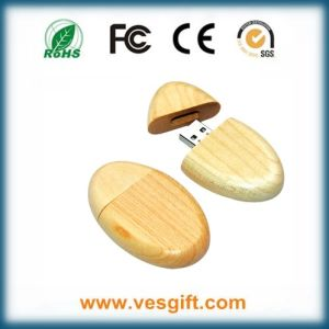 Custom Logo Round Shape Wood USB Flash Disk pictures & photos