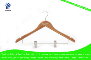 High Quality, Cheap Price and Regular Clothes Bamboo Hanger Ylbm3012-Ntlns1 for Supermarket, Wholesaler with Shiny Chrome Hook pictures & photos
