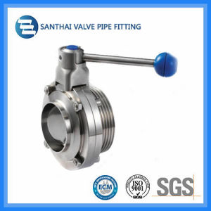 Ss304 Material Pulling Handle Clamped Sanitary Butterfly Valve pictures & photos