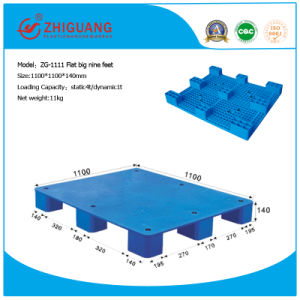 Warehouse Storage Products Plastic Pallet 1100*1100*140mm Flat Big Nine Feet HDPE Plastic Pallet Static 4t (ZG-1111) pictures & photos