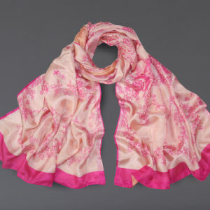 Silk Chiffon Double Scarf Mei Red Flower Prints for Women Scarves Sp20-1 pictures & photos