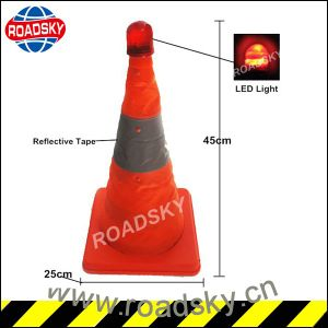 Solar Collapsible Pop up LED Light Traffic Cone for Sale pictures & photos