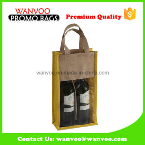 Customized Wholesale Foldable Jute Tote Shopping Bag with PVC Window for Wine pictures & photos