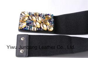 Ladies Fashion Belt Waistband PU Belt Rhienstone Elastic Belt -Jbe1629 pictures & photos