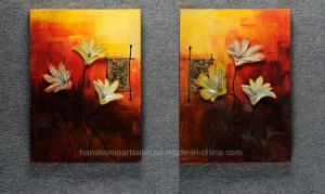 Flower Relievo Oil Painting on Canvas & Transparent Glue for Decoration pictures & photos