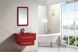 Red PVC on Wall Modern Fashion Bathroom Mirrored Cabinet (JN889036-2) pictures & photos