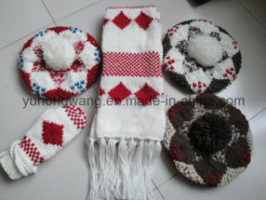 Hot Selling Lady Winter Warm Knitted Acrylic Set pictures & photos