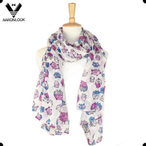 Fashionable Cheap Owl Print Scarf Polyester pictures & photos