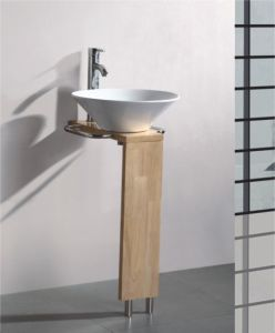 Solid Wood Bracket Glass Wash Basin (7056) pictures & photos