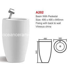 Ceramic Lavatory Basin with Pedestal (No. A202) Sanitary Ware pictures & photos