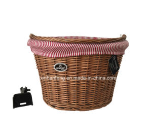 Willow Material Bike Basket with Handle (HBK-151) pictures & photos