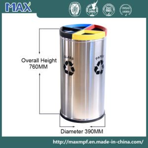 Wholesale Round Shape Indoor 4 Compartment Stainless Steel Dustbin pictures & photos