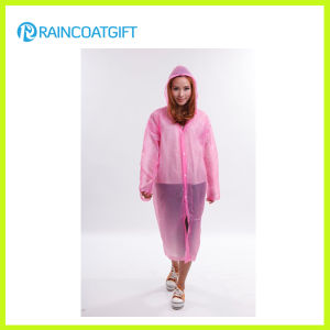 Full Length Pink PE Long Sleeve Disposbale Raincoat pictures & photos