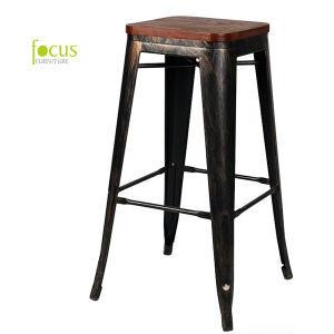 Replica Tolix Marais Metal Restaurant Dining Wooden Bar Stool (FS-14042-3) pictures & photos