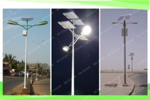 Double 60W LED Solar Powered Street Light with Pole pictures & photos
