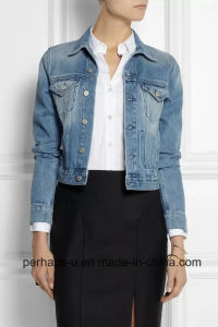 High Quality Women Washed Jacket Blue Wild Casual Denim Coat pictures & photos