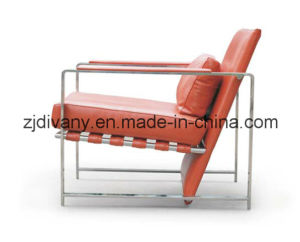 Stainless Steel Frame Leather Seat Single Sofa (D-78) pictures & photos