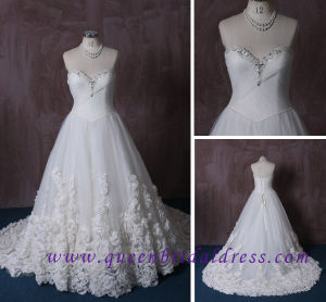 Fashion Strapless Sweetheart A Line Wedding Dresses with Crystal Collar
