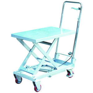 Aluminum Mobile Manual Hydraulic Lift Table pictures & photos